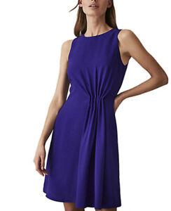 Reiss Nadia Side Gather Dress Blue Size 6 NEW