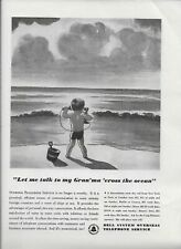 1938 Bell Systems Overseas Phone Service Call Grandma Grandson Original Print Ad