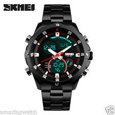 SKMEI Original Imported Dual Time full black steel wrist watch for men 1146