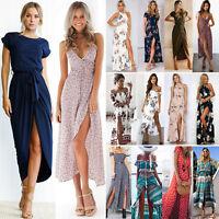 Womens Boho Floral Maxi Dress Summer Evening Party Beachwear Slit Spilt Sundress