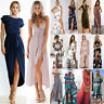 Women Boho Floral Maxi Long Dress Summer Evening Party Beach Slit Spilt Sundress