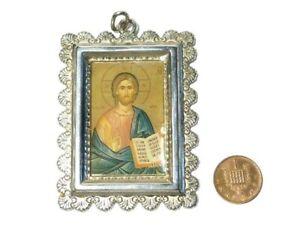 Vintage Icon Jesus in Metal Frame Pendant