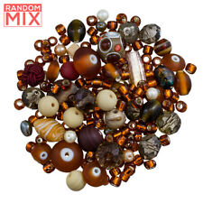 Glass Acrylic Metal Beads Mix Browns And Creams 100g [R89]