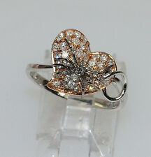UNIQUE 14K ROSE & WHITE GOLD DIAMOND INSECT SPIDER HEART PINKY CHILD WOMANS RING