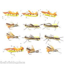 Foam Body Hopper Cicada Trout Bass Panfish Fly Assortment 12 Flies 3 Patterns