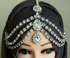 Silver Three Row Crystal Indian Matha Patti Tikka Head Chain Jewellery Bridal
