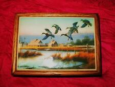 JEWELRY BOX W  PICTURE TILE  SIGN J RAEDEKE BREAKFAST AT PETERSON'S VTG