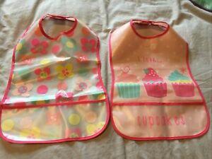 Girls Cupcake/floral Plastic Bibs With Pocket. BNWOT
