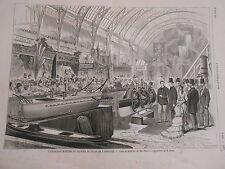 Gravure 1875 - L'exposition Maritime et Fluviale expo de M. Bazin