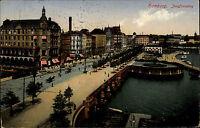 Hamburg AK 1914 Jungfernstieg Straßenpartie Hafen Verlag Albert Büttner gelaufen