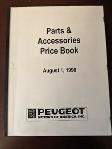 1998 1980s Peugeot 405 Accessories & Prices Parts Manual Book 8/1/98