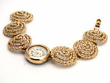 WOMEN'S GOLD FINISH FUNKY LINKS ROUND CASE WHITE DIAL  ANALOGE WATCH