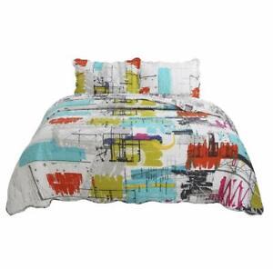 vivinna home textile 2-Piece Fine Printed City Quilt Set Reversible TWIN 68 X 88