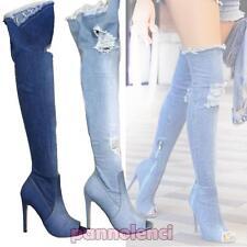 Scarpe donna stivali denim jeans strappati alti sopra ginocchio nuovi KS7039