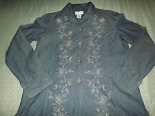 LADIES JACLYN SMITH FLORAL EMBROIDERED L/S TOP/JACKET sz SMALL