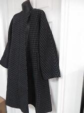 GIANFRANCO FERRE Wool/leather Houndstooth Tweed Swing Coat Black/gray  EU42