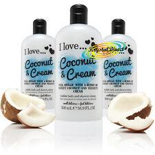 3x I Love... COCONUT & CREAM Bubble Bath Shower Creme Gel 500ml