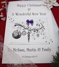 Large Personalised Baubles on Branch Christmas Card