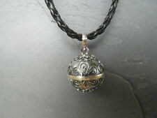 "Balinese Harmony Ball pendant genuine 925 silver 16mm ""Grey/Silver"" with cord"