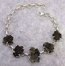 Sterling Silver Genuine Czech Moldavite Artisan Bracelet Free Shipping 173301