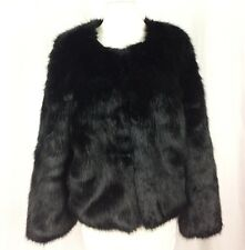 Banana Republic Jacket Faux Fur Black luxurious  Loop & Hook Closures Size M