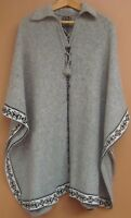 NEW, ALPACA WOOL PONCHO, CLOAK , LIGHT GREY COLOR, ANDEAN, WARM, SOFT, ARTISAN b