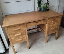 ☆ New - Super Rustic Vintage Teachers Solid Oak Stripped Wooden Desk Delivery ☆