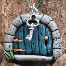 Hand made green fairy door pendant with tiny key on green cord #fd12