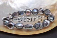 "D0282 Stretch 8"" 15mm multicolor Baroque Freshwater Pearl Bracelet"