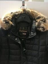 Ladies Barbour Quilted Fibre Down Jacket Coat. Detachable Faux Fur Trim. S12