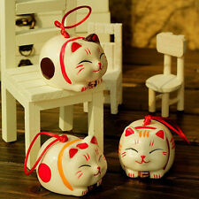 ONLY 1 ITEM - Lucky Cute Chinese Ceramic Maneki Neko Car Hanging Cat OR Decor