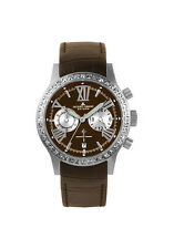 JACQUES LEMANS 1527E   Swarovski crystal  brown leather band NEW