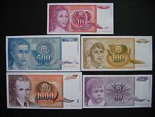 YUGOSLAVIA  10 + 50 + 100 + 500 + 1000 Dinara 1990  (P103 - P107)  UNC