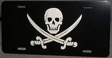 Calico Jack Skull and Swords on Black Auto License Plate Pirate    car truck tag