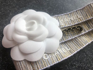 Authentic large  CHANEL White linen Silk Camellia Flower to Make Brooch /Pin Kit