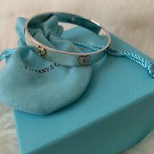Tiffany & Co. Sterling Silver .925 & Rubedo Heart & Key Hole Bangle Bracelet