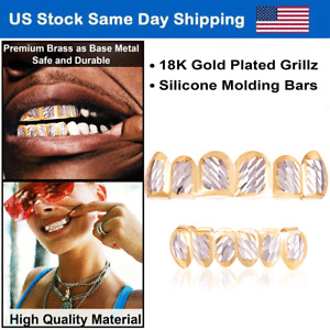 USA 18k Plated Silver Grillz for Mouth Teeth Top Bottom Hip Hop Tooth Grillz Set