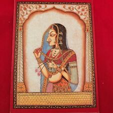 VINTAGE 90's MUGHAL INDIA GREETING Miniature On Marble CRY Card Child Relief You