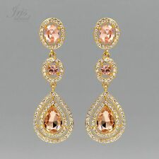Gold Plated Peach Crystal Rhinestone Wedding Drop Dangle Earrings 06825 Prom