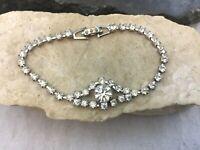 Vintage Glamorous Sparkling Clear Crystal Rhinestone Dressy Evening Bracelet