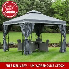GAZEBO GARDEN GAZEBO 3X4 MTR GRAPHITE GREY FULLY WATERPROOF PVC LINED CANOPY