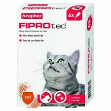 Beaphar Fiprotec Spot On Solution for Cats Kills Fleas Ticks Includes 6 Pipettes