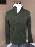 Mens Large Woolrich Angler 1/4 Zip Fleece Sweater Green Style HMQ0023S