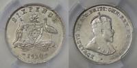 Australia 1910 Sixpence - PCGS GRADED AU55 Silver - KM# 19 - High Grade (KF70)