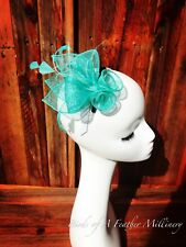 TURQUOISE #46 CLEARANCE Small Clip Fascinator Melbourne Cup Spring Race Party