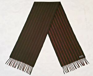 VINTAGE AUTHENTIC STRIPED GREEN RED WOOL LONG MEN'S FRINGE SCARF