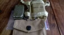 WW2 US AIRBORNE FIRST AID POUCH, CARLISLE TIN + TIE ON FIRST AID PACKET