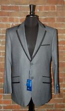 46 L SLIM FIT STUDIO 18  BRAND NEW MENS CHARCOAL GREY W / BLACK TRIM 2 SUIT