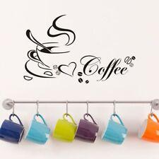 Coffee Cups Kitchen Wall Tea Sticker Vinyl Decal Art Restaurant Pub Decor Love.