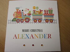 Personalised Handmade Train Christmas Card - Son Grandson Nephew Godson etc